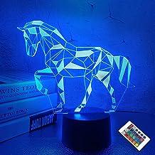Nachtverlichting voor Kids Paard Illusie 3D Nachtlampje Nachtlampje Nachtlampje Nachtlampje 16 Kleuren Veranderende met Af...