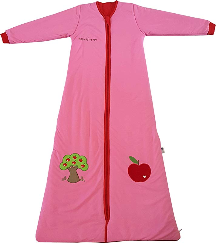 Slumbersac Sleeping Bag With Non Removable Long Sleeves 2 5 Tog Red Apple 3 6 Years 51 Inch