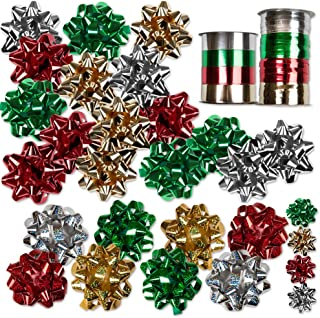 30 Christmas Self Adhesive Gift Bows and 8 Rolls of Christmas Curling Ribbons by Gift Boutique