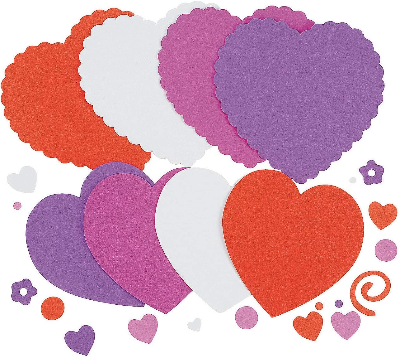 Makes 12 520 Pcs Valentines Heart Craft Kit for Kids Valentines Day Crafts for Classroom by 4Es Novelty Self-Adhesive Foam Stickers /& Letters Included
