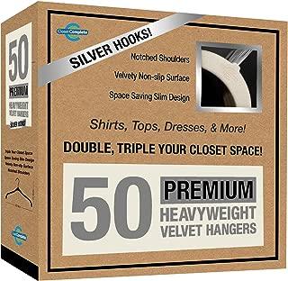 Closet Complete Premium Quality, True-Heavyweight, Virtually-Unbreakable Velvet Hangers, Ultra-Thin, Space Saving, No Slip, Best for Shirt, Dress, Lingerie, 360° Spin, Chrome Hooks, Ivory, Set of 50
