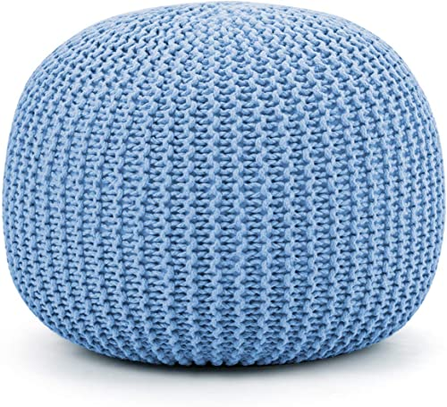 wholesale Giantex Pouf Round Knitted Hand Knitted Dori Cable W/ Handmade Cotton Braid Cord, Home Decorative Seat for Guests, Ideal lowest for Living Room, Bedroom, Kid's Room Floor Ottoman Footrest popular (Blue) outlet online sale