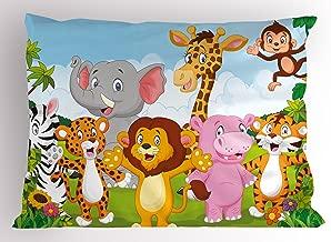 Ambesonne Nursery Pillow Sham, Comic Savannah Animals Playful Friendly Safari Jungle Happy Wildlife Nature, Decorative Standard Size Printed Pillowcase, 26