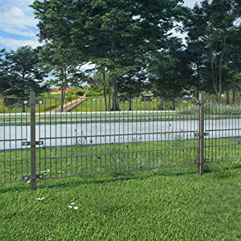 UnfadeMemory Valla Jardin Metalica con Postes,Panel de Valla para Jardin,Decoracion Jardin,Hierro Recubrimiento Polvo (6x0,8m, Gris Antracita): Amazon.es: Hogar