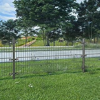 UnfadeMemory Valla Jardin Metalica con Postes,Panel de Valla para Jardin,Decoracion Jardin,Hierro Recubrimiento Polvo (6x0,8m, Gris Antracita)
