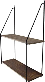 Admired By Nature ABN5E096-NTRL 2 Tier Rustic Wooden Floating Wall Mounted Hanging Shelves, Natural