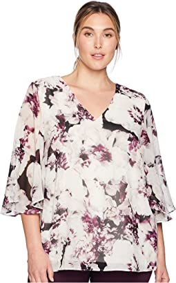 Plus Size Print V-Neck Blouse w/ Flare Sleeve