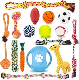 Petarty Dog Chew Toy Pack, Bulk Durable Squeaky Rubber Ball Dog Toys and Cotton Rope Toys Assortment for Small Medium Big ...