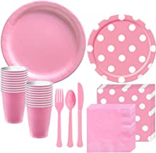 Party City Pink Polka Dot Tableware Supplies for 16 Guests, Includes Paper Plates, Napkins, Plastic Cups, and Cutlery