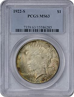 1922-S Peace Silver Dollar, MS63, PCGS, Spotty Orange Toned on Both Sides