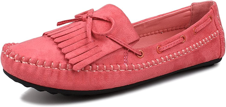 Reinhar New Women's Suede Fringe Loafers Slip on