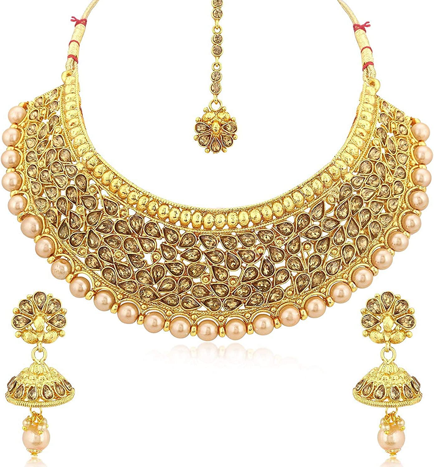 Crunchy Fashion Bollywood Style Gold Tone Traditional Indian Jewelry Necklace Set with Earrings