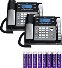 RCA 25424RE1 4-Line Expandable Phone System - Office Desk Telephone with Built-in Caller ID and Intercom (2-Pack) Bundle with 8 Blucoil AAA Batteries