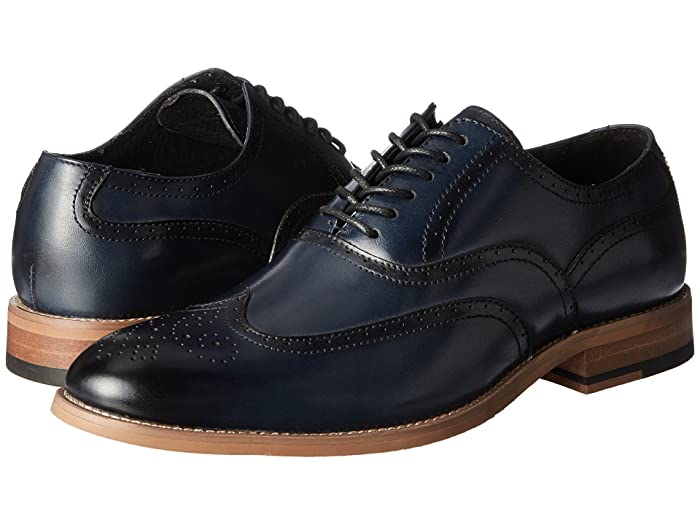 1950s Mens Shoes: Saddle Shoes, Boots, Greaser, Rockabilly Stacy Adams Dunbar Wingtip Oxford Indigo Mens Shoes $55.99 AT vintagedancer.com