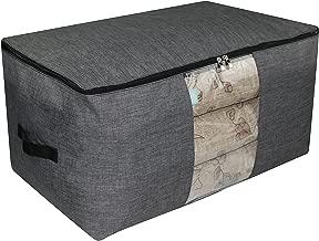 Bolsa de almacenamiento antideslizante impermeable con cremallera para la organización del vestuario, ropa voluminosa Estacional Bolsa de almacenamiento de edredón, 65 * 40 * 35 cm, gris oscuro