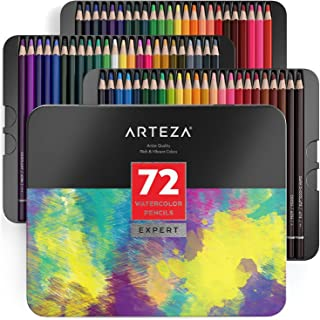 ARTEZA Professional Watercolor Pencils, Set of 72, Multi Colored Art Drawing Pencils in Bright Assorted Shades, Ideal for Coloring, Blending and Layering, Watercolor Techniques