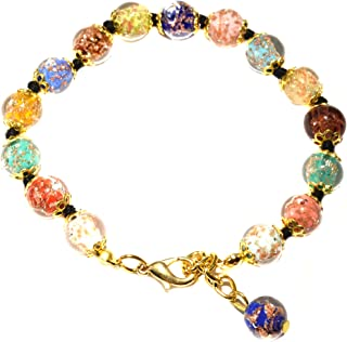 "Genuine Venice Murano Sommerso Aventurina Glass Bead Strand Bracelet in Multi, 8+1"" Extender"