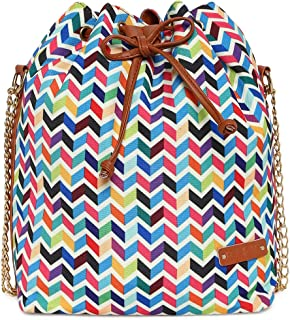 Kleio Women's Canvas Bucket Sling Bag with Draw String (Multicolour)