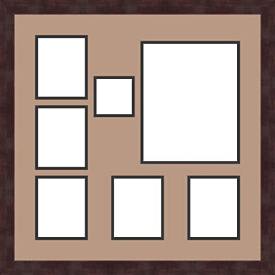 Art to Frames Double-Multimat-1120-771//89-FRBW26061 Collage Frame Photo Mat Double Mat with 8-5x7 Openings and Espresso Frame