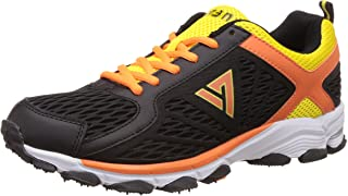 Seven Men's Hogun Black, Orange Peal and Butter Cup Running Shoes - 8 UK/India (42 EU)