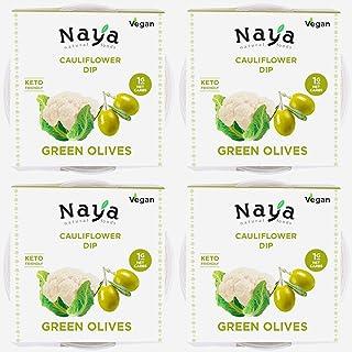 Cauliflower Hummus Low Carb, Sugar Free, Keto Friendly (Green Olives Flavor with Sea Salt) Gluten-free, Dairy-free, Shelf ...
