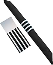 The French Concept Decorative Self-Adhesive Paper Napkin Bands Compliment Black and White Party Supplies (Pack of 40)