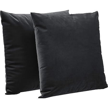 Amazon Basics 2 Pack Velvet Fleece Decorative Throw Pillows 18 Square Black Home Kitchen