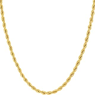 2mm Rope Chain Necklace 24k Real Gold Plated for Women and Men with Free Lifetime..