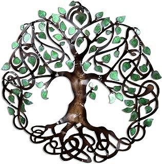 Decorlives Small Green Tree of Life Decorative Metal Wall Sculpture Art Handging Décor
