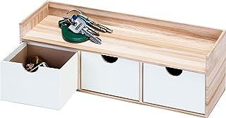 アストロ 小物収納 ウッド調 3列 横置き 約29.7×8.8×9.8cm 703-02