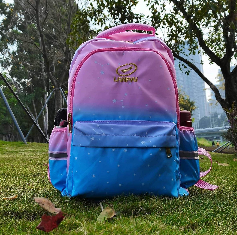 RedPurple Pink Princess Backpack Kids School Back Pack Gradient Color Bookbag the Starry Sky Back Bag Lightweight Backpacks for Girls 16inch