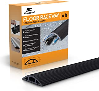 Simple Cord Floor Cord Cover - 4 Ft Black Duct Cord Protector Covers Cables, Cords, or Wires - 3 Channel On Floor Raceway for Sidewalks or Walkways, in The Home or Office Doorways (4 ft)