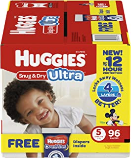 Branded HUGGIES Snug & Dry Ultra Diapers, Size 5, 96 Diapers + Bonus Diapers , Weight 27lbs - Branded Diapers with fast delivery (Soft and Comfortable for Babies)