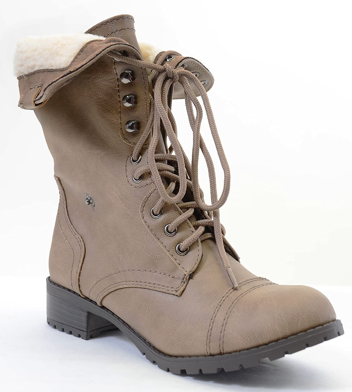 Shearling Fur Fold Over Combat Vegan Women's Boots