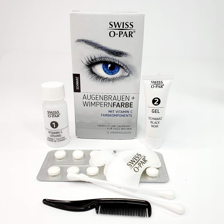 Swiss o-Par set de tintado de cejas y pestañas, sistema de coloración completo con material suficiente para 10-12 aplicaciones, coloración intensa que ...