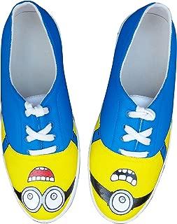 FUNKY N TRENDY Minion Eyes Blue Handpainted Waterproof Men's Canvas Casual Shoes