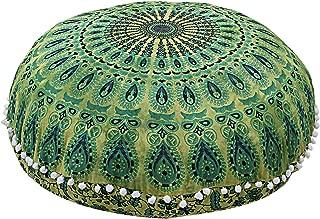 Shubhlaxmifashion Mandala Floor Pillow Cushion Seating Throw Cover Hippie Decorative Bohemian Ottoman Poufs, Pom Pom Pillow Cases,Boho Indian (32 Inches, Green Dye)