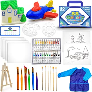 50pcs Acrylic Paint Set - Painting Supplies Kit Includes: Wooden Easel, Tubes of Acrylic Paints, Mixing Pallets, Multiple ...