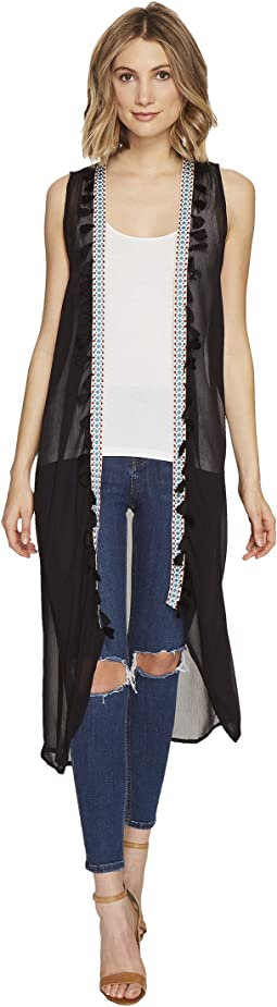 Duster Vest with Tassel Trim