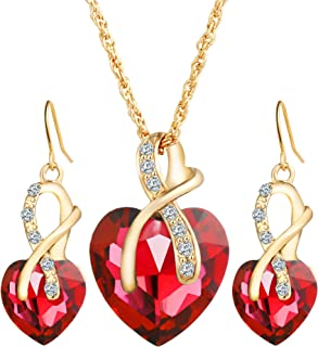 Romantic Blue Sapphire Heart of The Ocean Jewelry for Women CZ Crystal Necklace Earrings Set Bridal Wedding Accessories