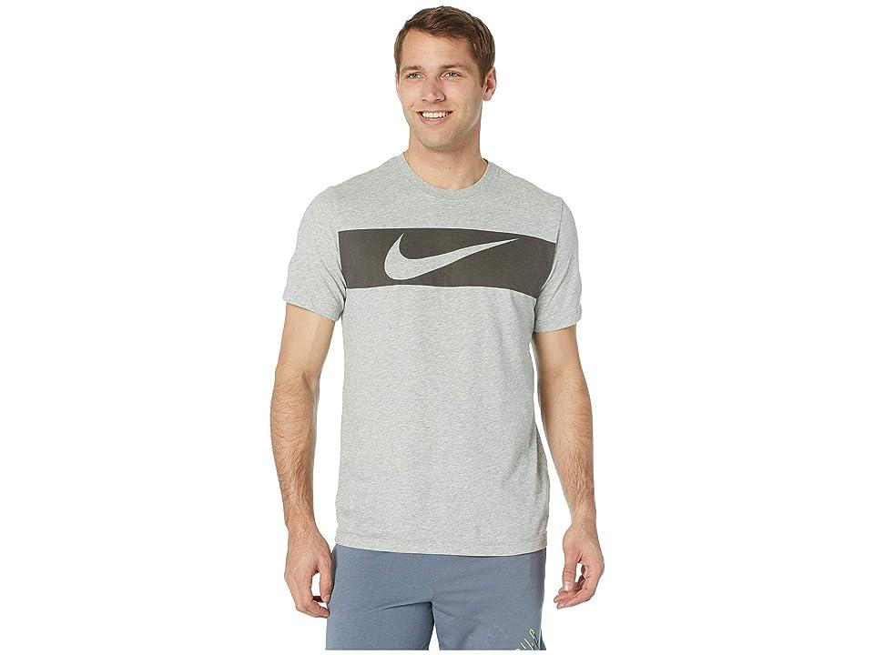 Nike Dry Tee Dri-FITtm Cotton Swoosh Bar (Dark Grey Heather/Black) Men