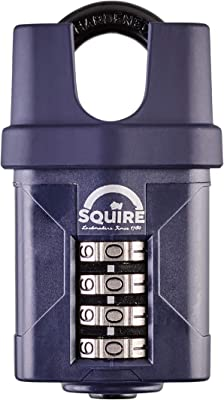 SQUIRE Combination Padlock. Patented Design Weatherproof Hardened Steel Shackle Recodable Padlock. Available in Multiple Sizes and Shackle Lengths. (4 Wheel - 50 mm Closed Shackle)
