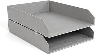 Bigso Box of Sweden 789254101N Set de 2 corbeilles à Courier, empilable, Panneau de Fibre, Gris, 31 x 23 x 6 cm