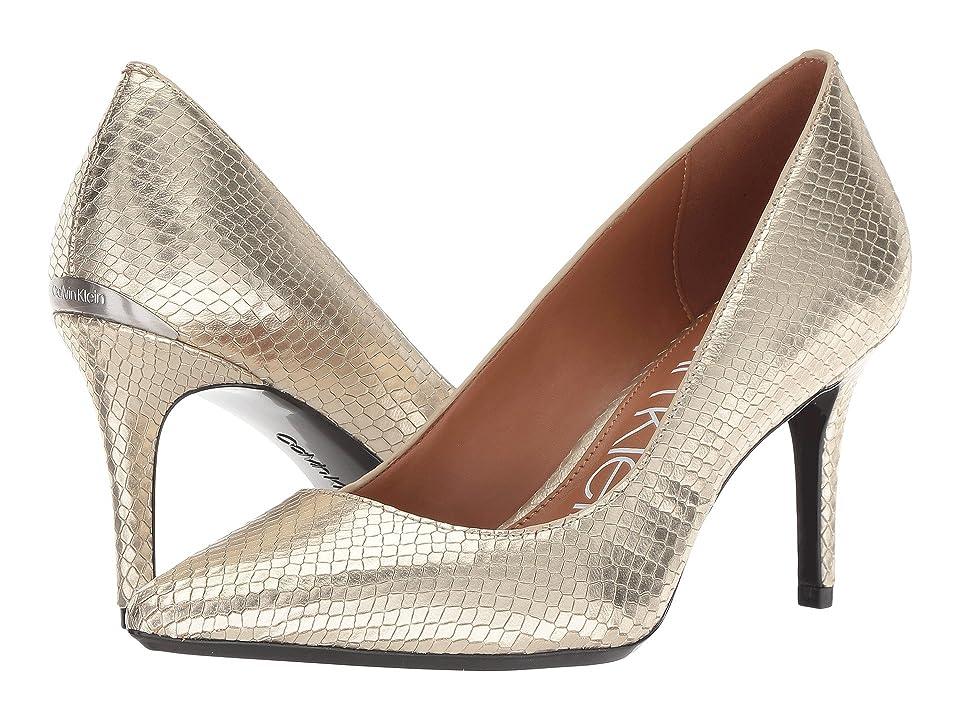 Calvin Klein Gayle Pump (Soft Gold Shiny Snake Print) High Heels