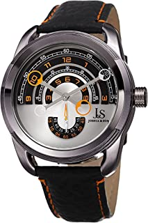 JX129 Men's Designer Watch – Round Arc Themed Dial - Genuine Double Stitched Leather Strap – Round Stainless Steel Case