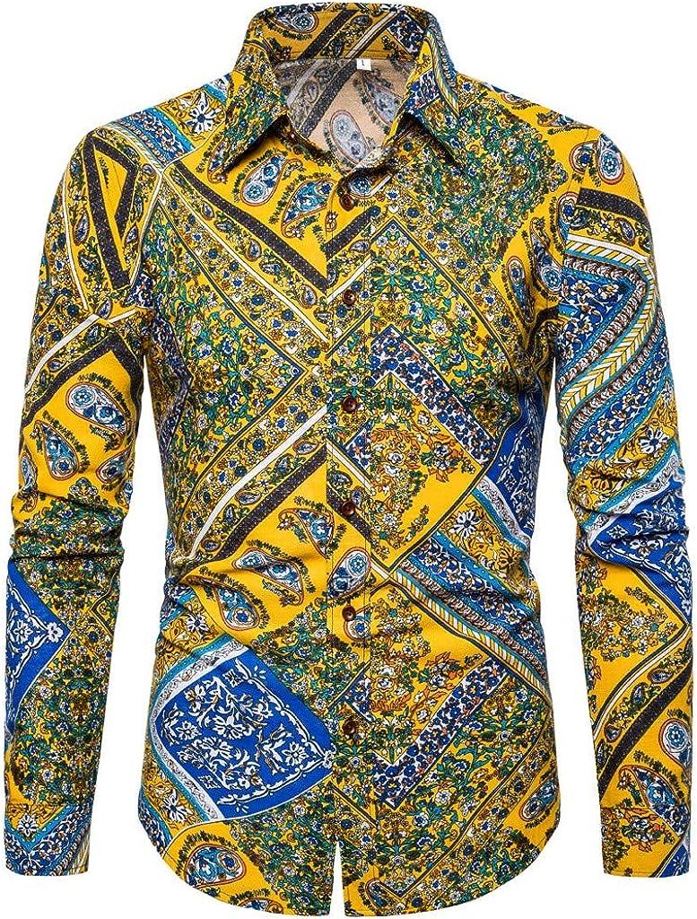 MODOQO Shirt for Men-Summer Fashion Slimd Fit Business Leisure Printing Long-Sleeved Shirt