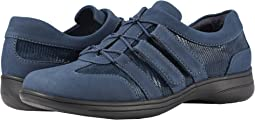 Navy Nubuck Textile/Lizard Patent Suede Leather