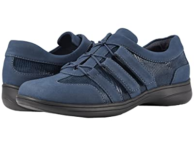 Trotters Joy (Navy Nubuck Textile/Lizard Patent Suede Leather) Women