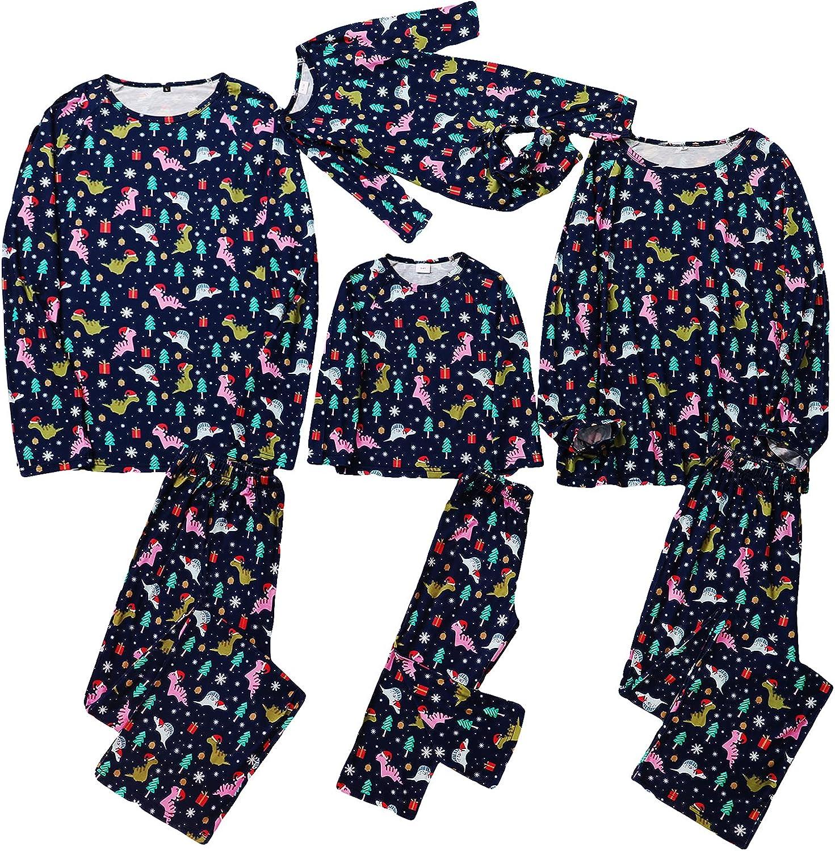 Soapow Christmas Family Matching Jammies Xmas Tree Dinosaur Printed Sleepwear Pajamas Set