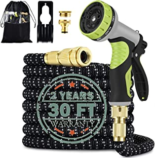 Garden Hose 30FT Flexible Hose Pipe with 9 Function Spray Nozzle,Strongest Latex Expandable Hose,Lightweight Leakproof Gar...